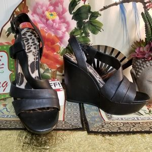 "Jessica Simpson ""Clara"" Black Leather Heels 8.5M"